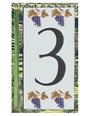 Numero de rue chiffre 3 décor grappe de raisin