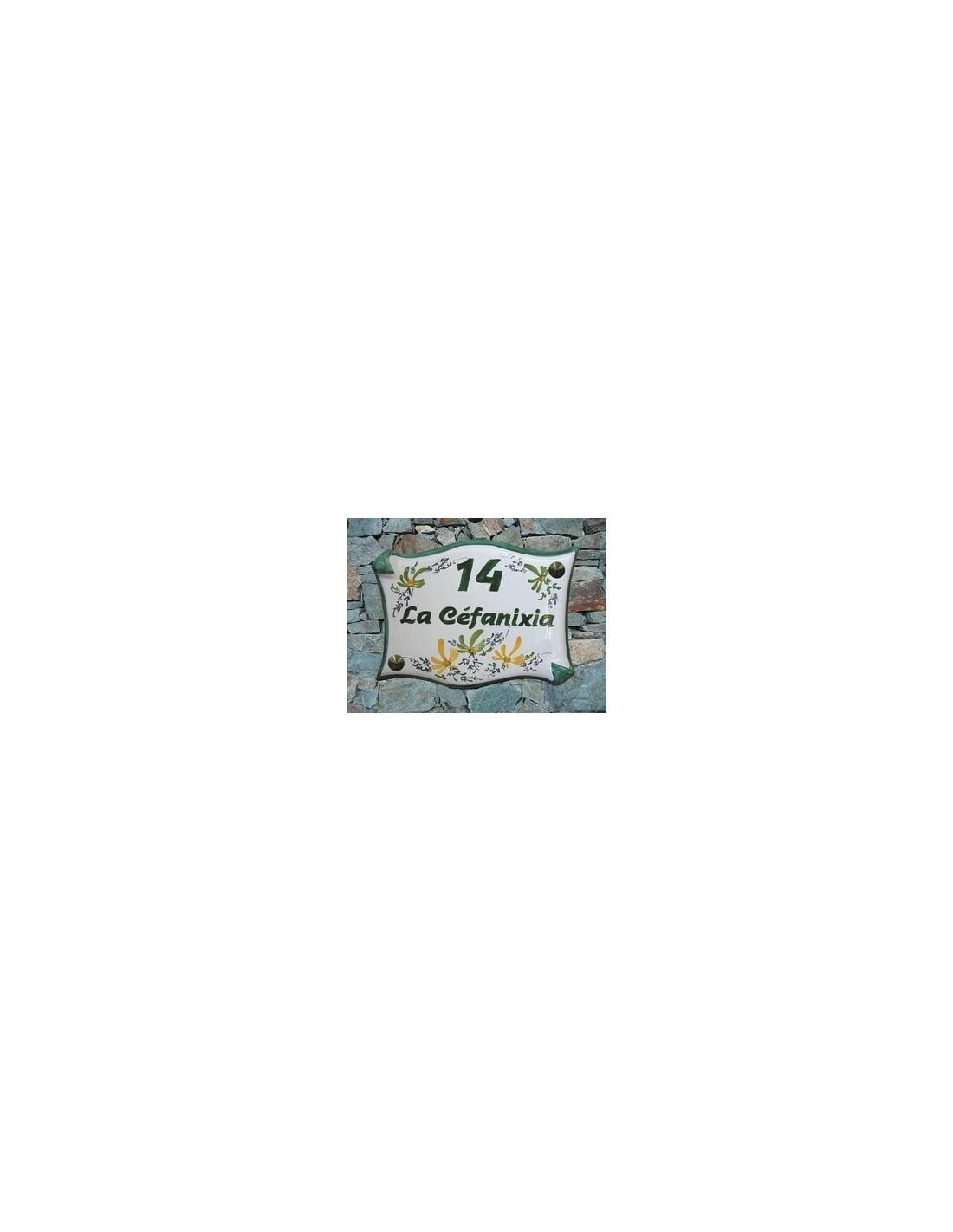 plaque de villa ext rieure en faience au motif fleurs vertes et oranges avec num ro et nom. Black Bedroom Furniture Sets. Home Design Ideas