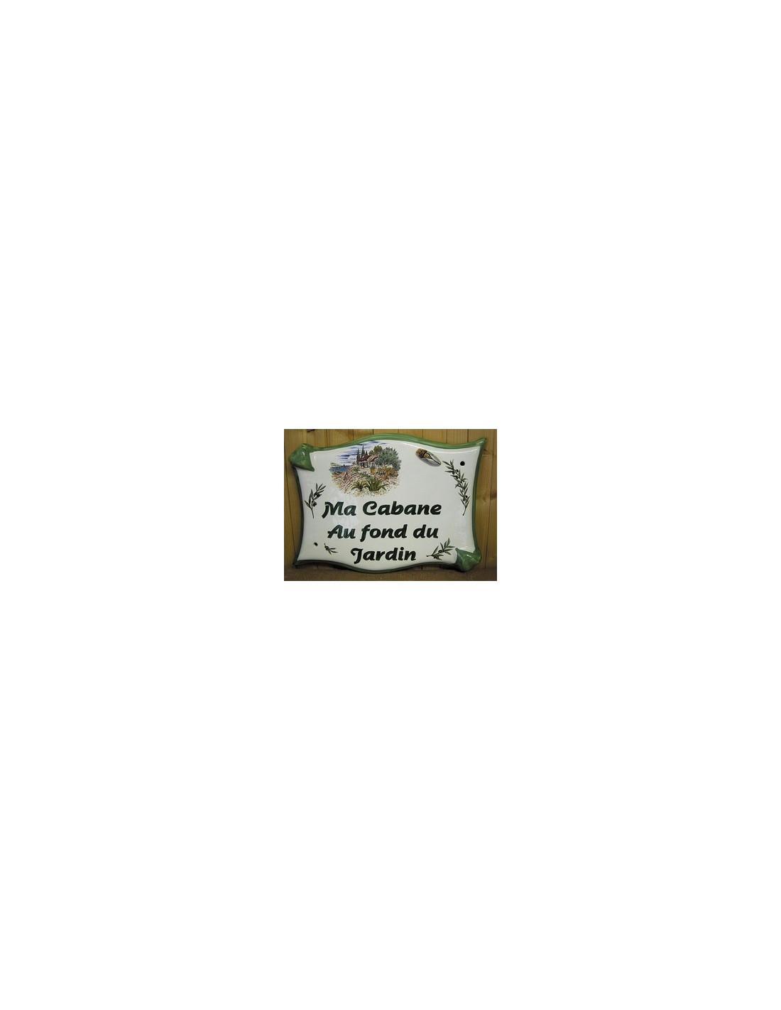 plaque de maison parchemin en c ramique cabanon et cigale en relief le petit vallauris. Black Bedroom Furniture Sets. Home Design Ideas