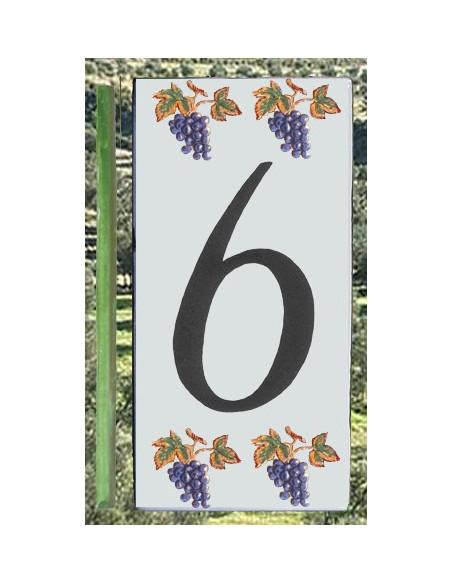 Numero de rue 6 décor grappe de raisin