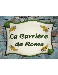 Plaque de villa parchemin décor mimosas bord vert