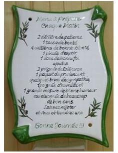 Plaque parchemin Menu de chaque jour avec citation