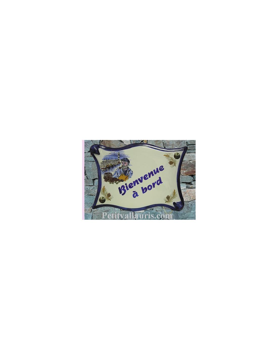 plaque parchemin originale motif pecheur breton pour maison de signalisation num rotation en. Black Bedroom Furniture Sets. Home Design Ideas