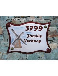 Plaque pour maison en céramique décor personnalisé Moulin des Flandres