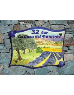 Plaque parchemin pour maison décor personnalisé Village et Champ d'Oliviers