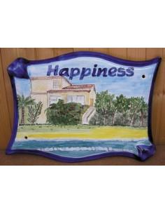 Plaque pour villa parchemin décor personnalisé Happiness bord de mer