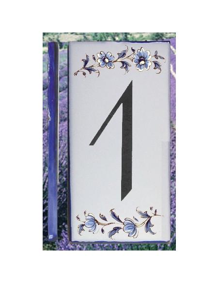Numero de rue à coller en faience chiffre 1 motif fleurs tradition bleu