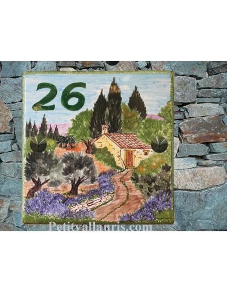 Grande plaque de maison en céramique modèle carrée motif artisanal campagne provençale + personnalisation