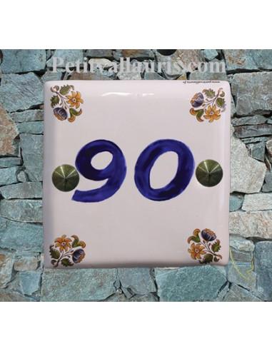 Numéro de maison décor fleurs tradition vieux moustiers chiffre bleu