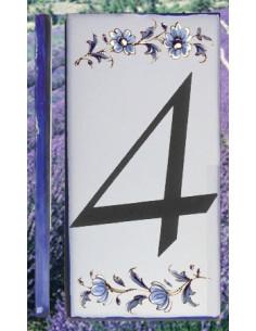 Numero de rue chiffre 4 décor tradition vieux moustiers bleu
