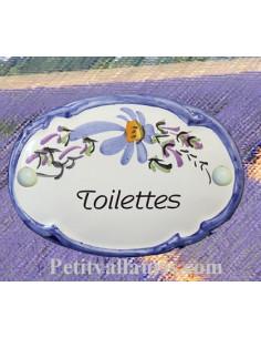 """Plaque de porte Ovale fleur bleue """"Toilettes"""""""