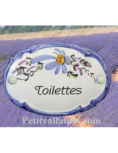 plaque de porte ovale fleur bleue toilettes le petit vallauris. Black Bedroom Furniture Sets. Home Design Ideas