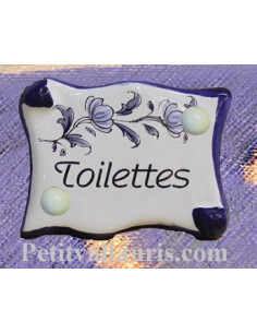 Plaque de porte parchemin Toilettes décor tradition vieux moustiers bleu
