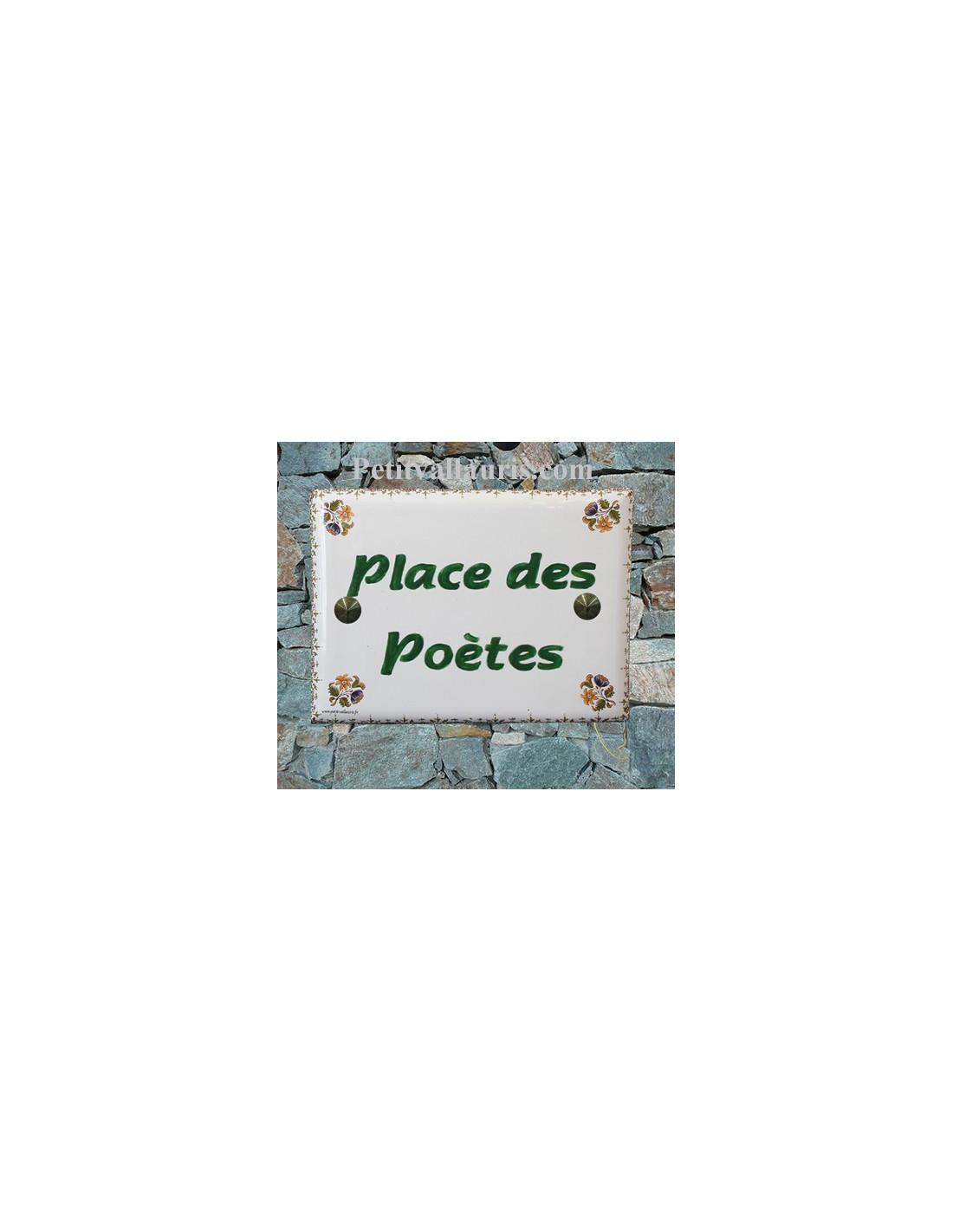 plaque de maison c ramique d cor fleurs polychromes inscription horizontale vertes le petit. Black Bedroom Furniture Sets. Home Design Ideas