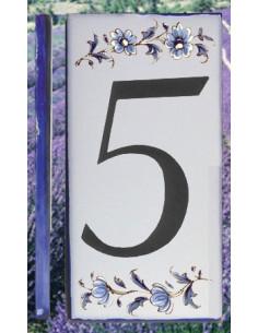 Numero de rue chiffre 5 décor tradition vieux moustiers bleu