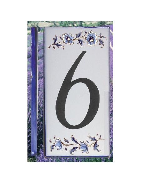 Numero de rue à coller en faience chiffre 6 motif fleurs tradition bleu