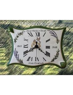 Horloge modèle parchemin anniversaire de mariage bord vert