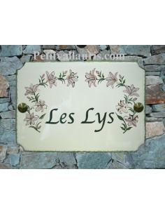 Plaque de maison émaillée de style décor Lys