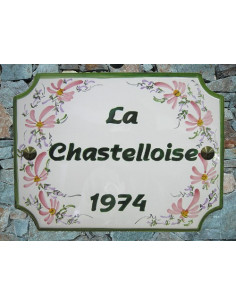 Plaque de maison émaillée de style en céramique Fleurs roses