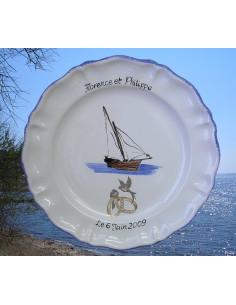 Assiette anniversaire de mariage Louis XV décor voilier tartane