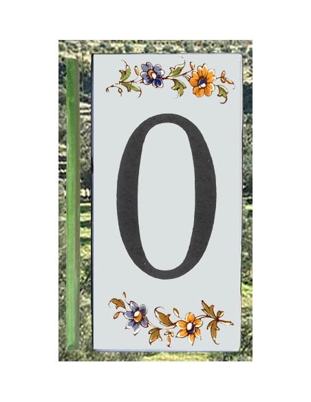 Numero de rue à coller en faience chiffre 0 motif fleurs tradition polychrome