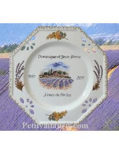 Assiette de Mariage octogonale décor brins de lavandes et brins de mimosas
