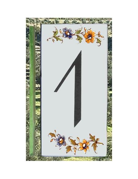 Numero de rue à coller en faience chiffre 1 motif fleurs tradition polychrome