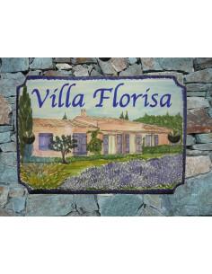Plaque pour maison en céramique décor villa provençale