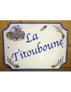 Plaque pour maison en céramique décor Moulin et Cigale