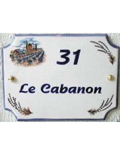 Plaque pour maison en céramique décor Moulin et Champs de Lavande