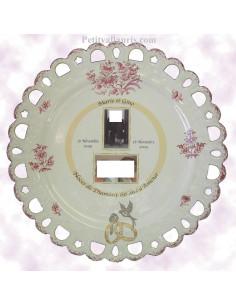 Assiette de Mariage modèle Tournesol avec 2 photos encadrement filet jaune décor tradition vieux moustiers rose