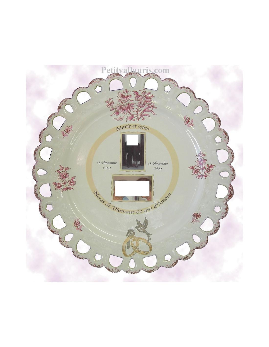 assiette de mariage mod le tournesol avec 2 photos d cor tradition vieux moustiers rose le. Black Bedroom Furniture Sets. Home Design Ideas
