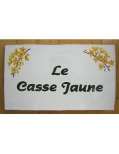 Plaque pour maison en faïence décor Casse jaune