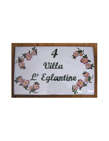 Plaque pour maison en faïence décor Eglantine