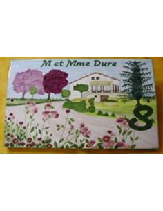 Plaque de maison Client décor Villa, Jardin et Prunus