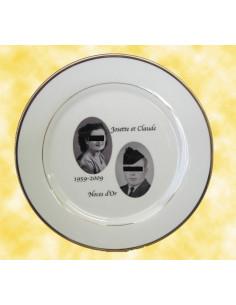 Assiette porcelaine personnalisée filet or avec 2 photos