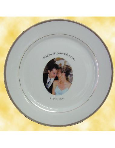 assiette porcelaine personnalis e filet or avec photo le petit vallauris. Black Bedroom Furniture Sets. Home Design Ideas