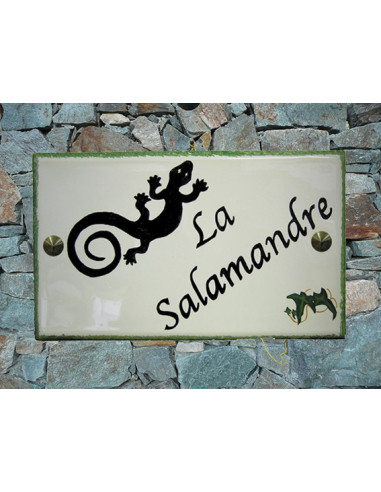 plaque de maison en c ramique d cor salamandre le petit vallauris. Black Bedroom Furniture Sets. Home Design Ideas