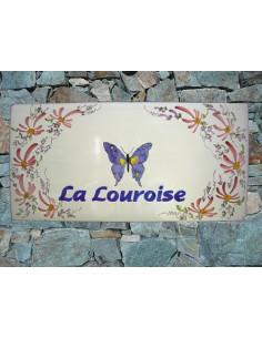 Plaque pour maison en céramique décor Papillon