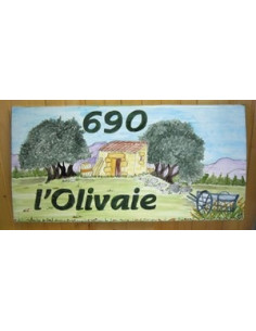 Plaque de maison décor Cabanon, Oliviers et Charette