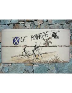 Plaque de maison en faïence émaillée décor Don Quichotte
