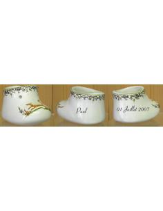 Chausson de naissance ou baptême décor tradition vieux moustiers polychrome