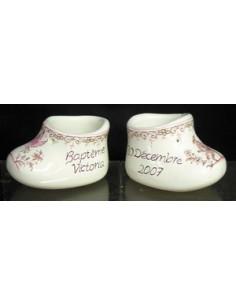 Chausson de naissance ou baptême décor tradition vieux moustiers rose