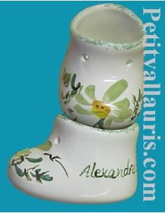 Chausson de naissance ou baptême décor fleur verte