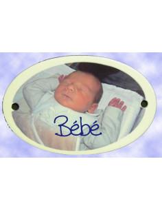 Plaque ovale de porte avec photo de votre enfant en métal émaillée