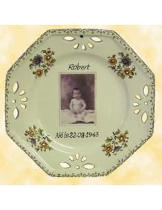 Assiette d'anniversaire octogonale avec photo petit modèle