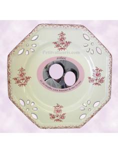 Assiette d'anniversaire octogonale avec photo décor tradition vieux moustiers rose