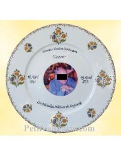 Assiette d'anniversaire avec photo en porcelaine décor vieux moustiers
