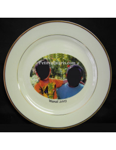 Assiette d'anniversaire avec photo d'enfants en porcelaine décor Filets