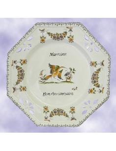 Assiette d'anniversaire ajourée décor Vieux Moustiers personnalisé